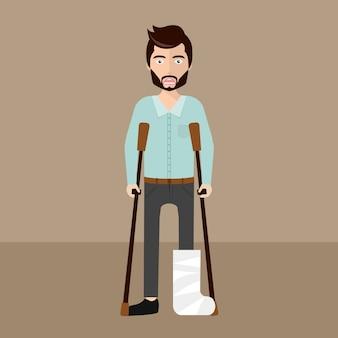 Homem ferido com muletas