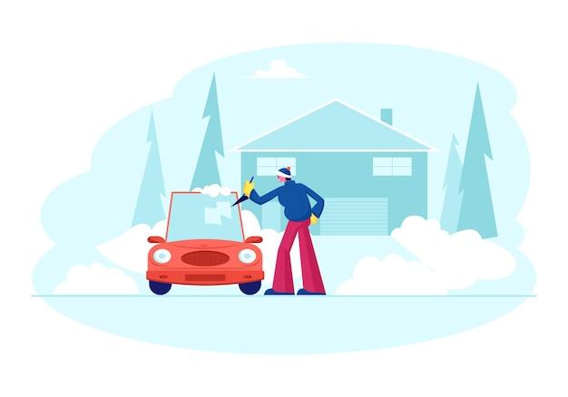 Homem fica em auto estacionado perto de casa de campo, limpando a janela do carro com a pá de gelo e neve no inverno. ilustração plana dos desenhos animados