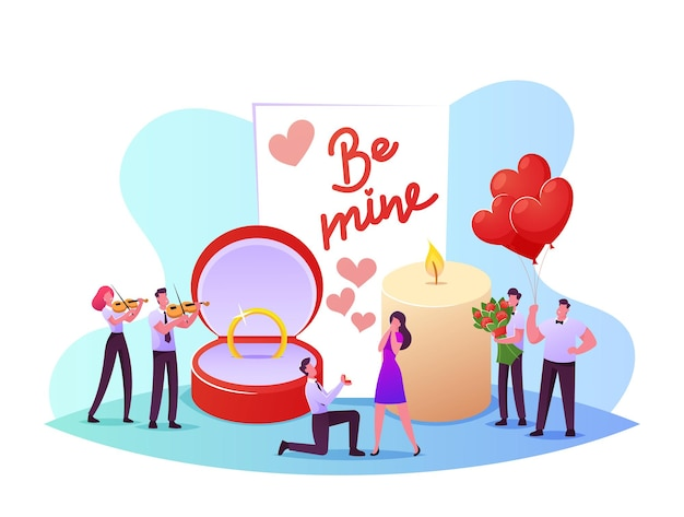Homem fica no joelho segurando o anel na caixa, fazendo proposta romântica para mulher pedindo para ela se casar com ele. conceito de amor, noivado e casamento. personagens em relações amorosas. ilustração em vetor desenho animado