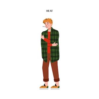 Homem ficou resfriado ao medir a temperatura. ilustração em vetor plana dos desenhos animados isolada
