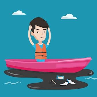 Homem flutuando em um barco na água poluída.