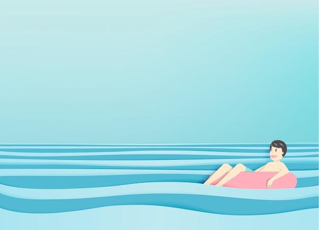 Homem, flutuante, praia, com, bonito, mar, fundo