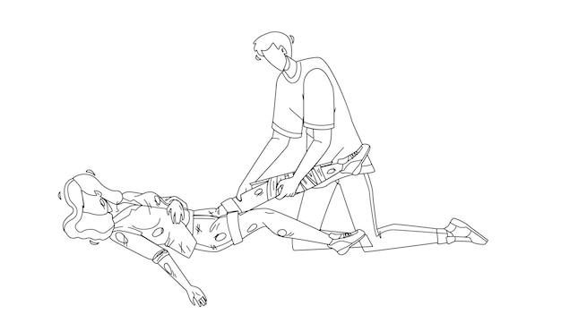 Homem fornecendo primeiros socorros ferido jovem menina linha preta desenho vetorial. menino fornece primeiros socorros bandagem mulher traumatismo de perna quebrada antes da chegada da ambulância. ilustração de resgate de emergência de personagens