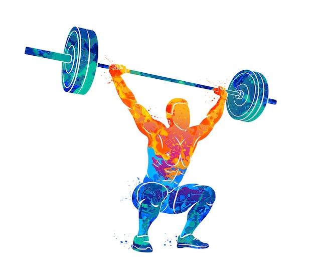 Homem forte abstrato levantando pesos levantamento de peso levantamento de peso do respingo de aquarelas. ilustração de tintas.
