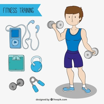 Homem forte com diferentes objetos de treinamento
