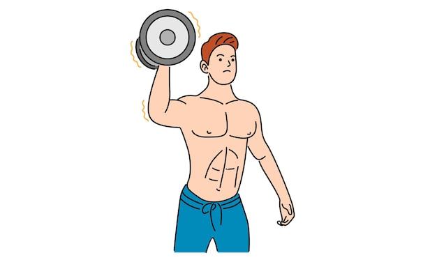 Homem forte segurando um haltere desenhado