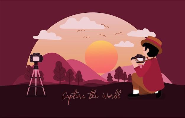 Homem fotográfico de chapéu usa a câmera para tirar fotos de paisagens