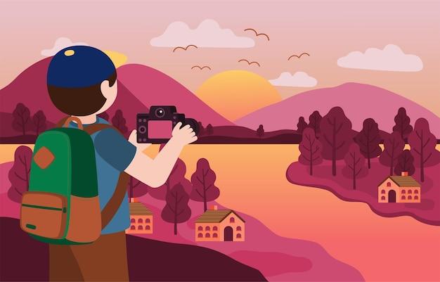 Homem fotográfico usando boné e usando a câmera para tirar a foto