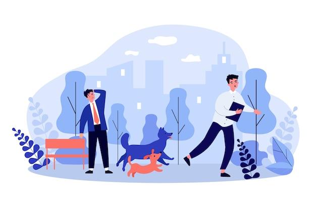 Homem fugindo de cachorros em design plano