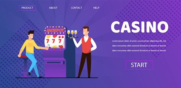 Homem ganha jackpot no garçom de cassino com champanhe