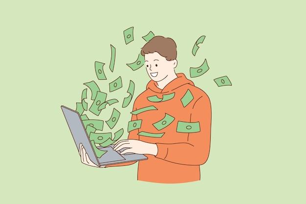 Homem ganhando dinheiro com ilustração na internet