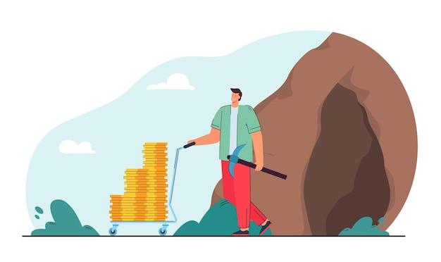 Homem ganhando dinheiro ilustração plana