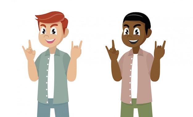 Homem gesticulando, fazendo ou fazendo símbolo do rock and roll ou sinal com as mãos com expressão maluca.