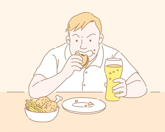 Homem gordinho comendo fast food e segurando um copo de cerveja em estilo de linha fina