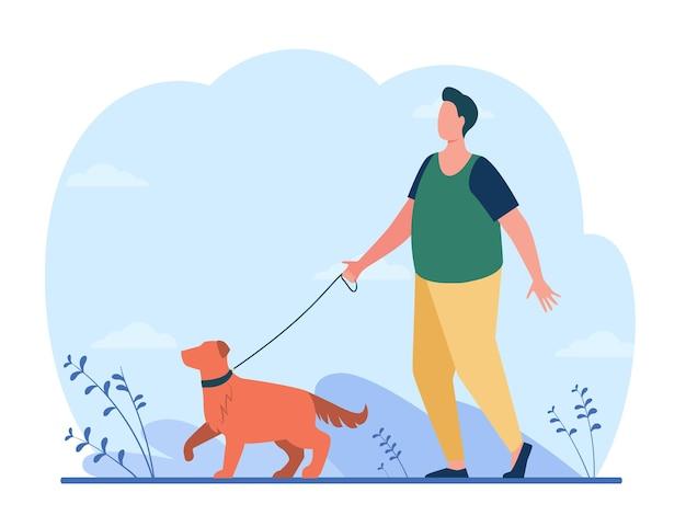 Homem gordo andando com o cachorro na rua. ilustração de desenho animado