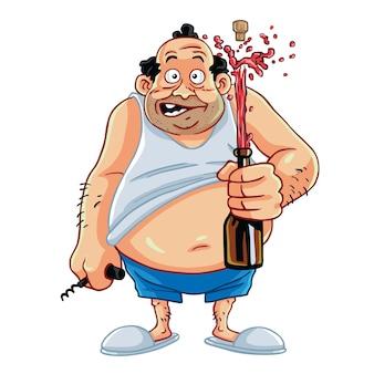 Homem gordo beber champanhe cerveja desenho de personagem desenho animado abrindo garrafa de champanhe ilustração vetorial
