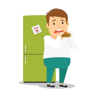 Homem gordo comendo hambúrguer