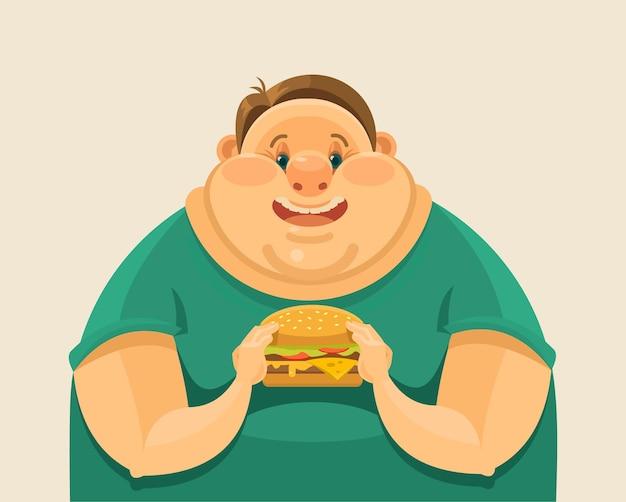 Homem gordo comendo um hambúrguer grande. ilustração em vetor plana
