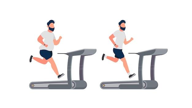 Homem gordo corre em uma esteira. guy é executado no simulador.