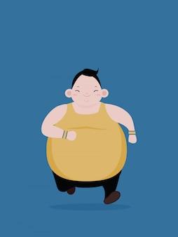 Homem gordo correndo para perder peso e corpo saudável
