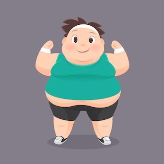 Homem gordo dos desenhos animados em um uniforme de esportes