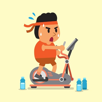 Homem gordo dos desenhos animados, exercitando-se na máquina elíptica