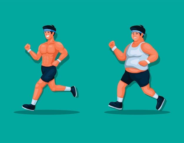 Homem gordo e muscular executando exercícios de corrida para ilustração vetorial de estilo de vida saudável