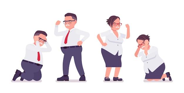 Homem gordo, funcionária, emoção negativa
