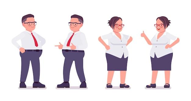 Homem gordo, funcionária, emoções positivas