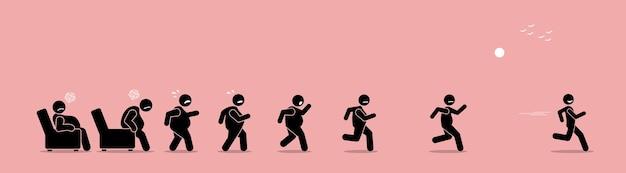 Homem gordo se levantando, correndo e se transformando em uma transformação magra