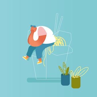 Homem gordo sentado na enorme caixa de wok para viagem com macarrão e pauzinhos. personagem masculino visitando restaurante asiático com conceito de comida chinesa. refeição de espaguete fastfood. flat cartoon