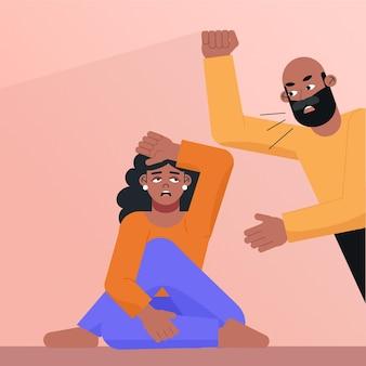 Homem gritando com o conceito de direitos civis da mulher