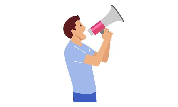 Homem gritando no alto-falante