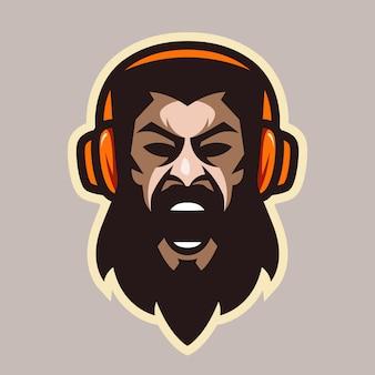 Homem grito com raiva, com barba e fones de ouvido