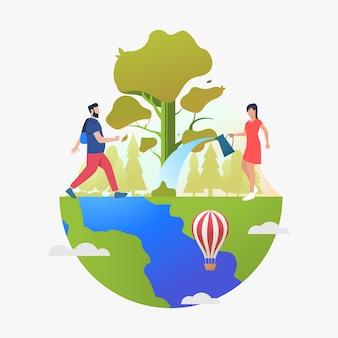 Homem, hiking, e, mulher, aguando, árvore, ligado, globo terra