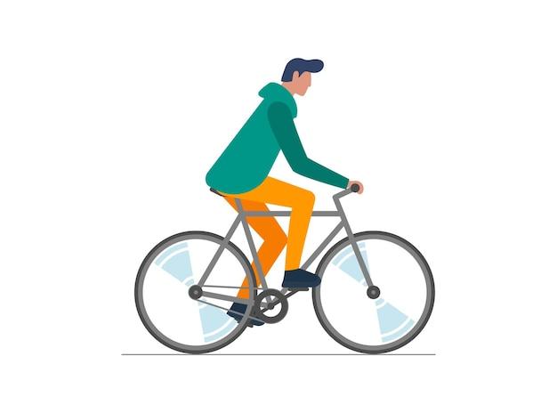 Homem hippie andando de bicicleta jovem ciclista isolado rapaz elegante de bicicleta
