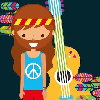 Homem hippie com guitarra musical retro