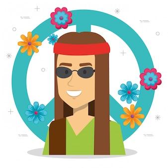 Homem hippie com sinal de paz e flores