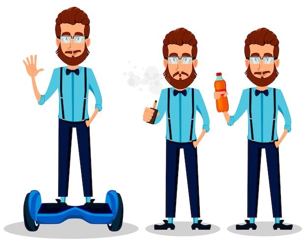 Homem hipster barbudo de óculos
