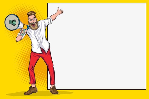 Homem hipster e megafone com espaço vazio para banner pop art comic style