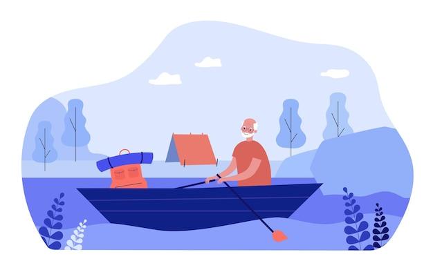 Homem idoso acontecendo ilustração vetorial plana de caminhada. avô flutuando no rio, sentado no barco, tenda na costa. acampamento, velhice, aposentadoria, viagens, férias, conceito de turismo para design de banner
