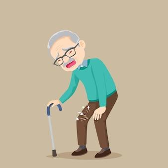 Homem idoso com dor no joelho e em pé com uma bengala