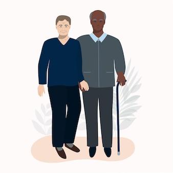 Homem idoso e homem relacionamento casamento casal casamento feliz conceito de velhice avós