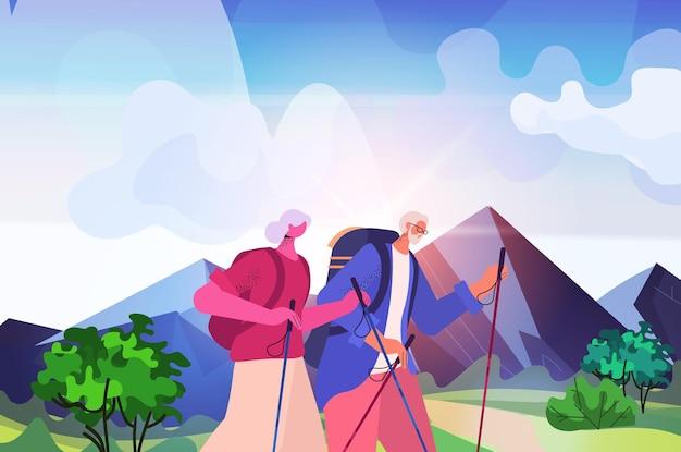 Homem idoso, mulher, alpinista viajando junto com mochilas ativas para idosos, atividades físicas conceito paisagem