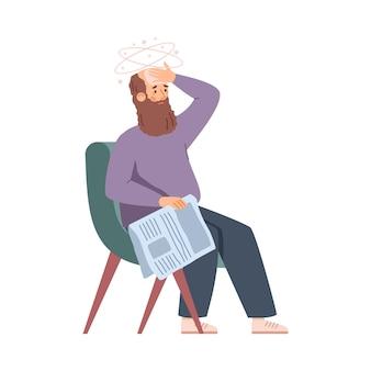 Homem idoso na poltrona, sentindo-se fraco e cansado. ilustração em vetor plana isolada