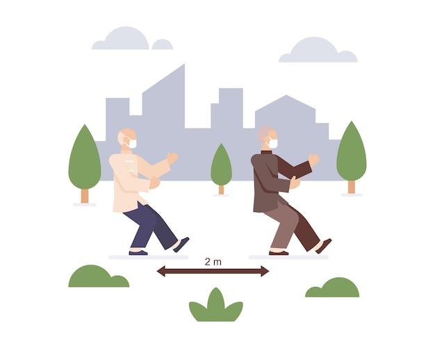 Homem idoso usa máscara facial e pratica tai chi no parque da cidade enquanto pratica ilustração de distanciamento social
