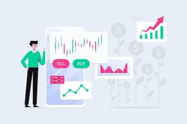 Homem ilustrado com dados da bolsa de valores