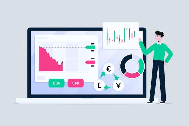 Homem ilustrado com informações da bolsa de valores