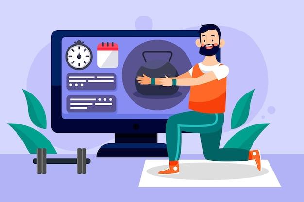 Homem ilustrado dando conselhos de fitness