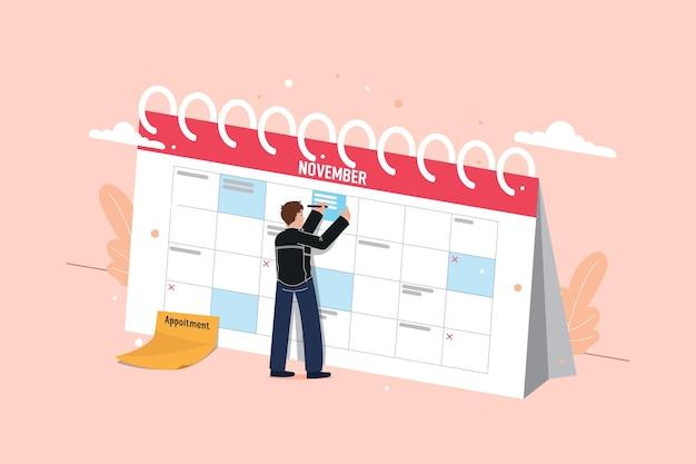 Homem ilustrado, marcar uma consulta no calendário